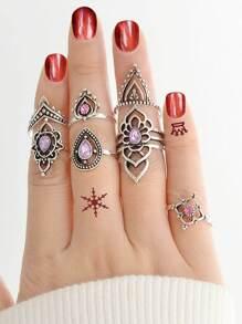 Vintage Purple Crystal Ring Set