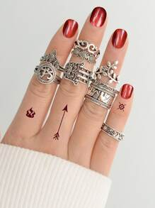 Carved Elephant Ring  9-Pieces Set