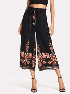 Flower Print Self Belted Culotte Pants