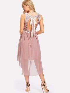 Contrast Sequin Dip Hem Dress