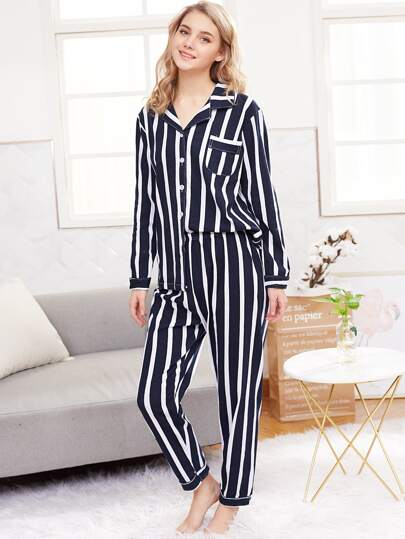 Stripe Shirt & Long Pyjama Set