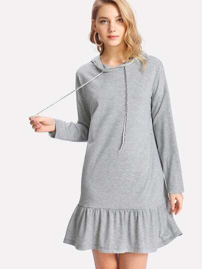 Drop Shoulder Pep Hem Hoodie Dress
