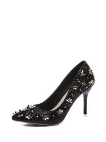 Flower Decorated Stiletto Heels
