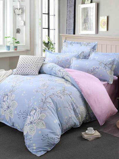 2.0m 4Pcs Flower Print Duvet Cover Set