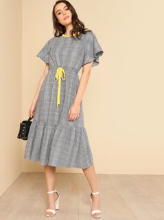 Contrast Neck Drawstring Waist Plaid Dress