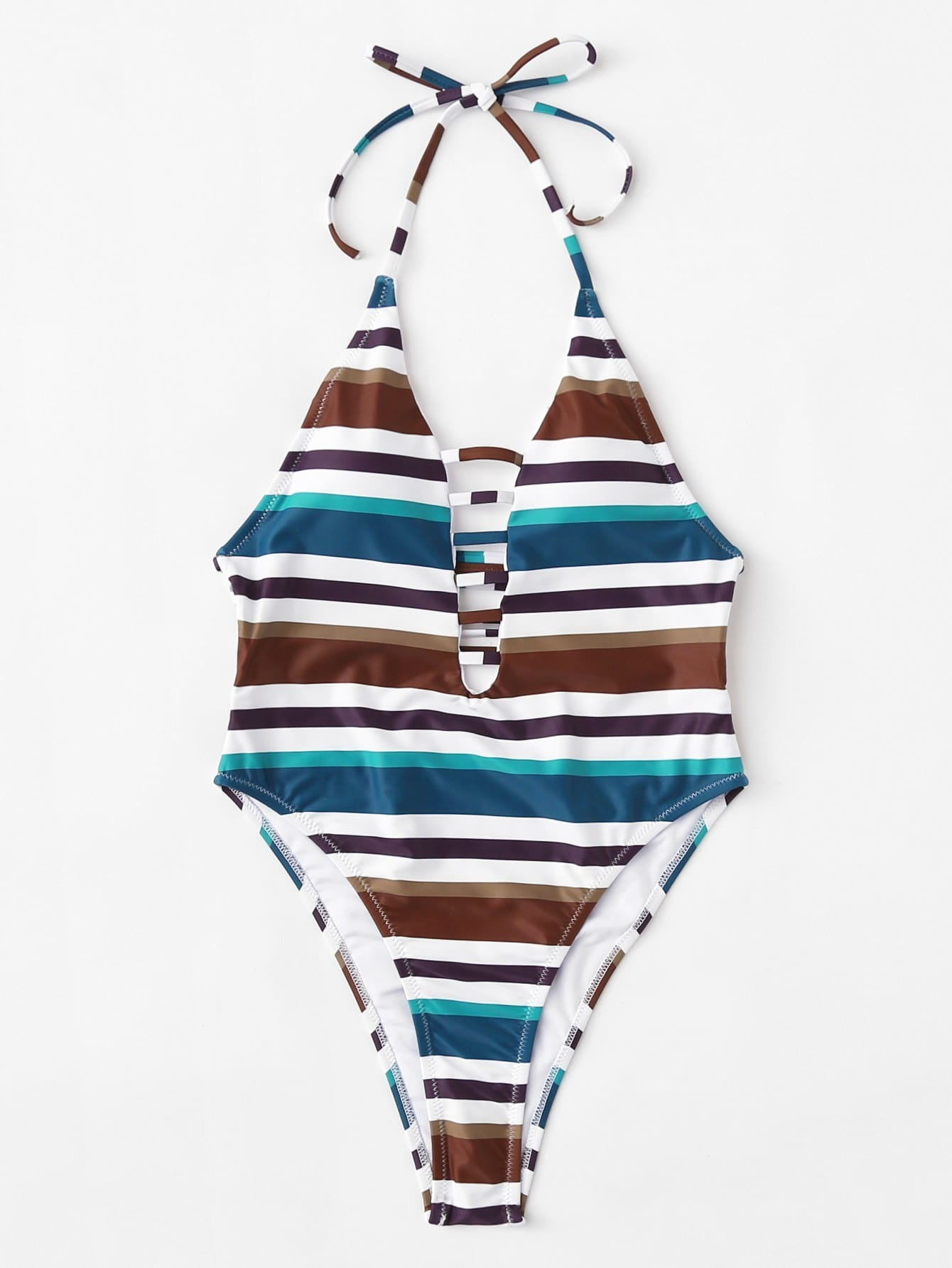 Купить Модный купальник в полоску с разрезами, null, SheIn