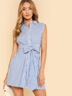 Belted Button Up Shirt Dress