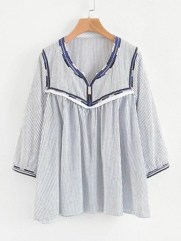 Embroidery Detail Striped Babydoll Blouse rblo180131203