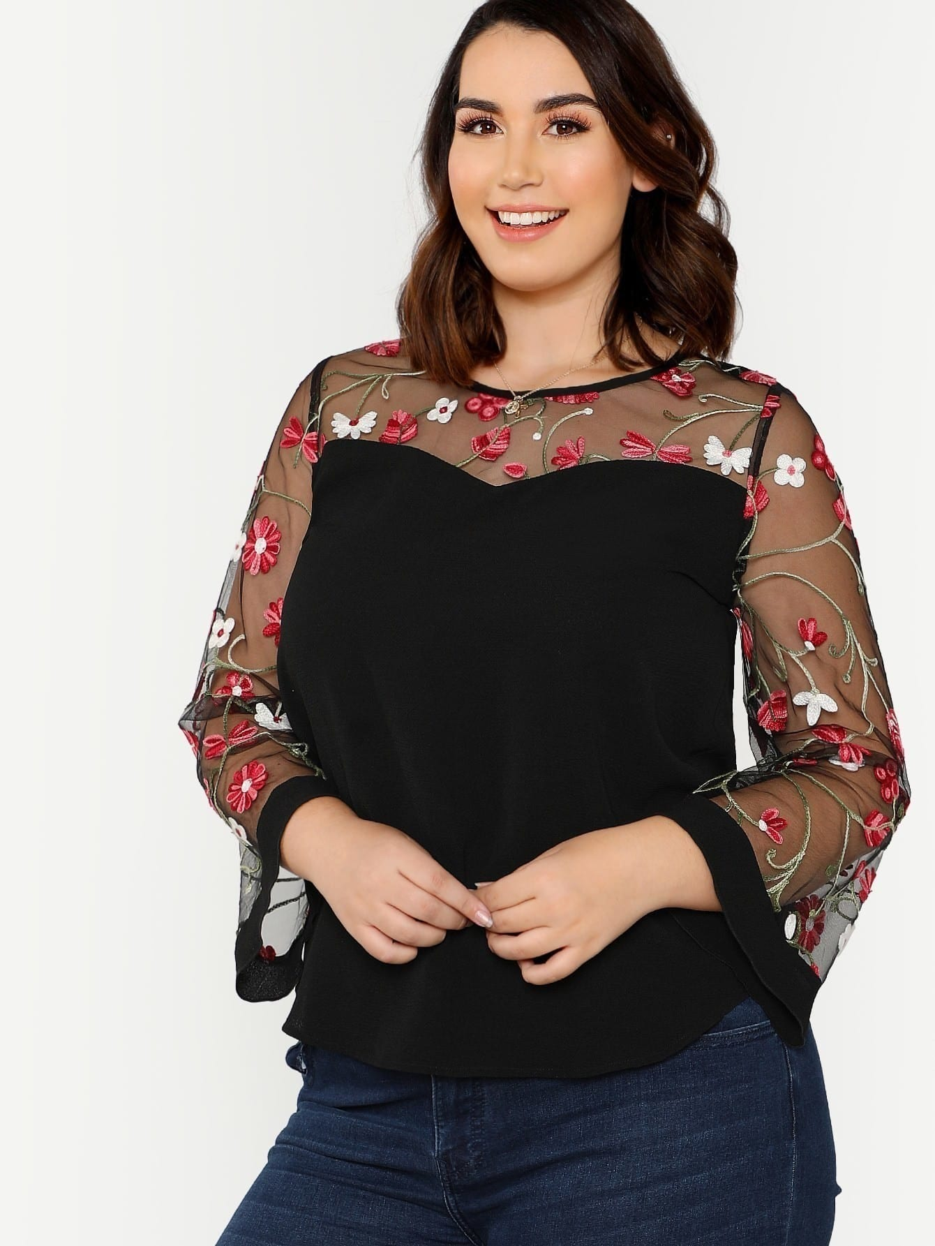 9d0bd972f7d4 Flower Embroidered Mesh Sleeve Top