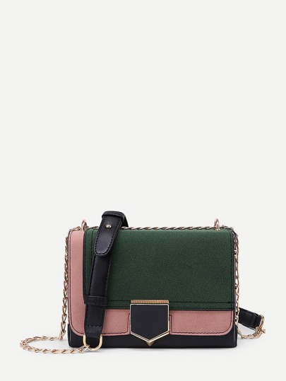 Two Tone PU Flap Crossbody Bag