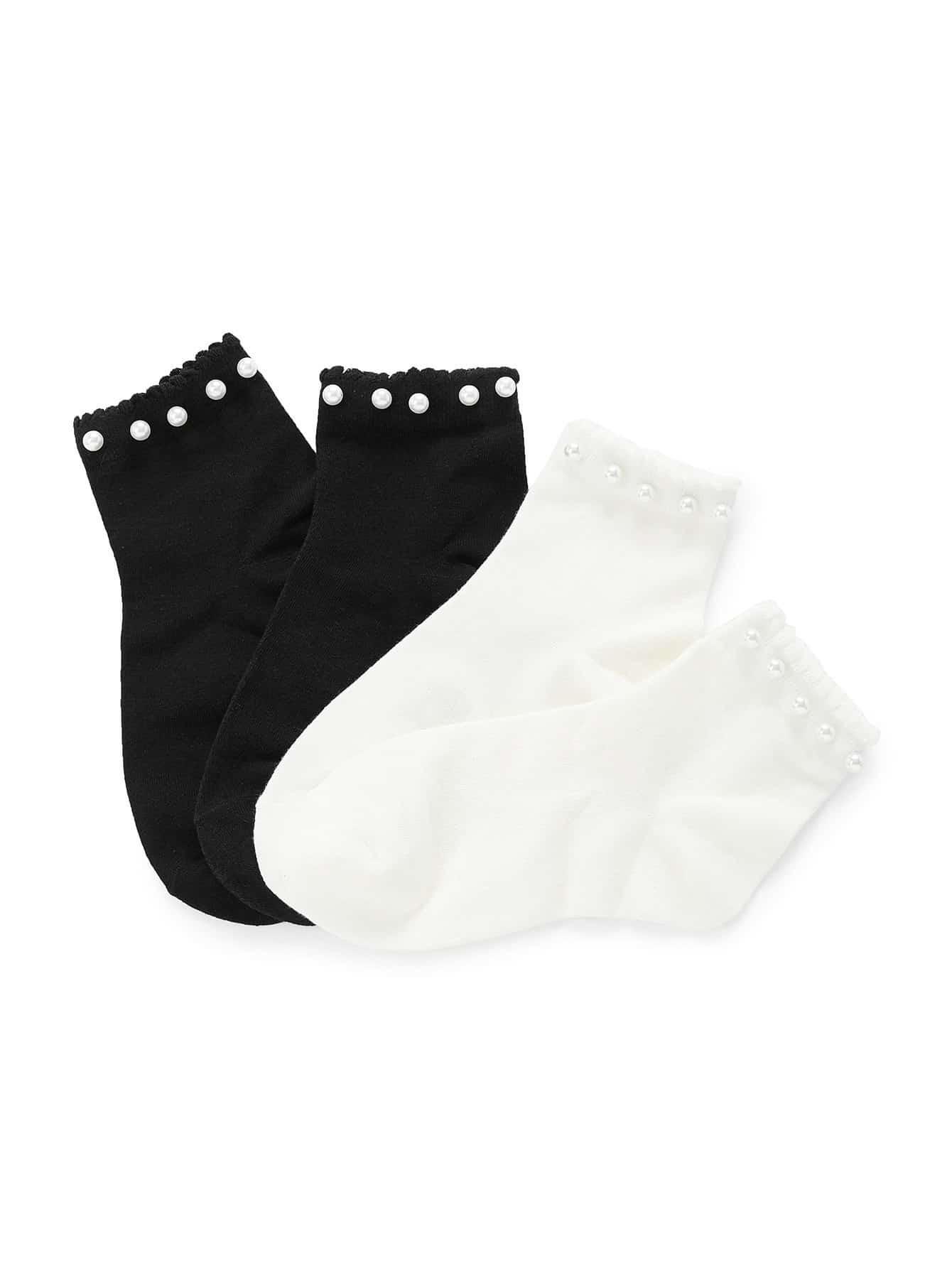 Faux Pearl Trim Ankle Socks 2pairs