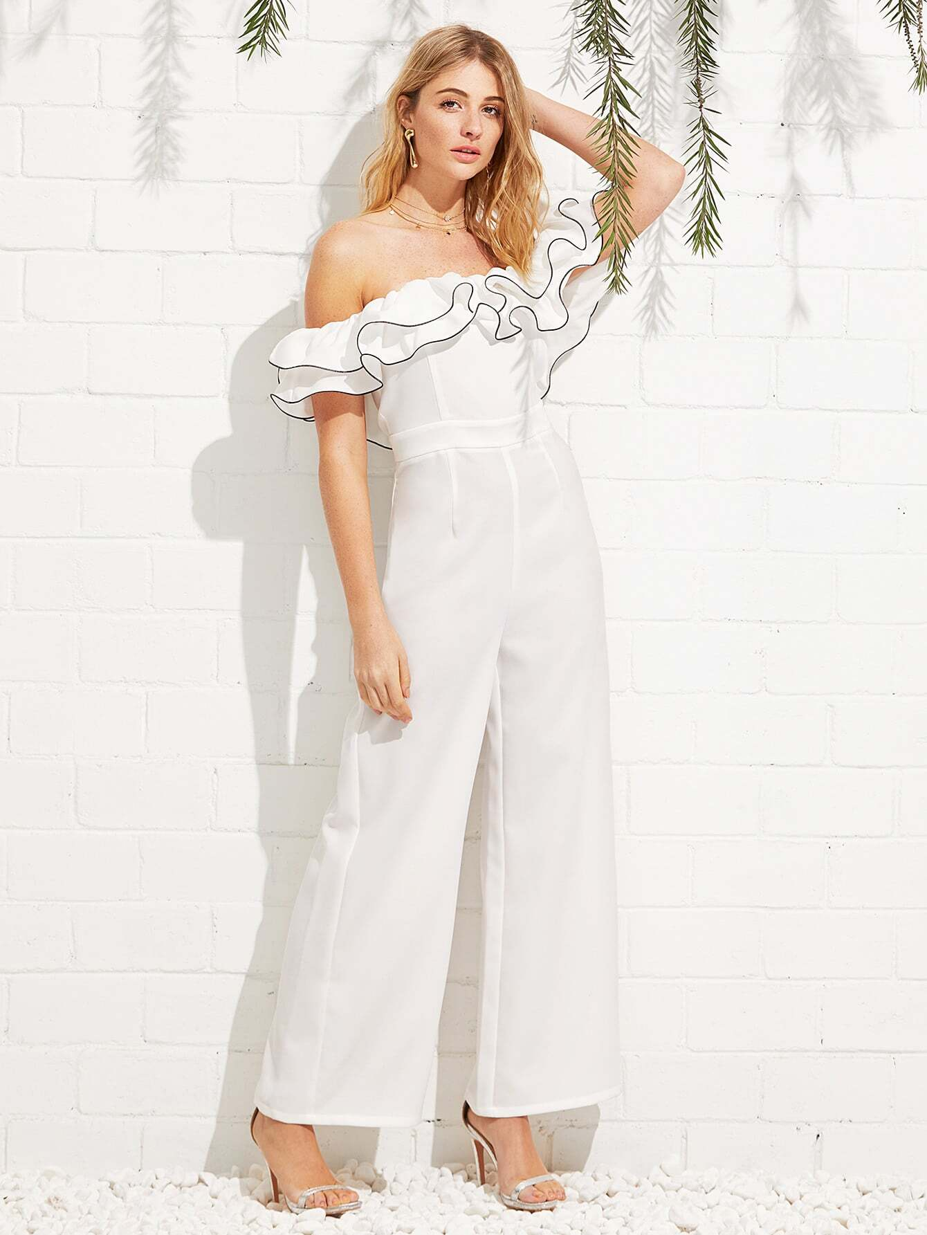 Exaggerate Ruffle Off Shoulder Jumpsuit ruffle layer off the shoulder striped jumpsuit