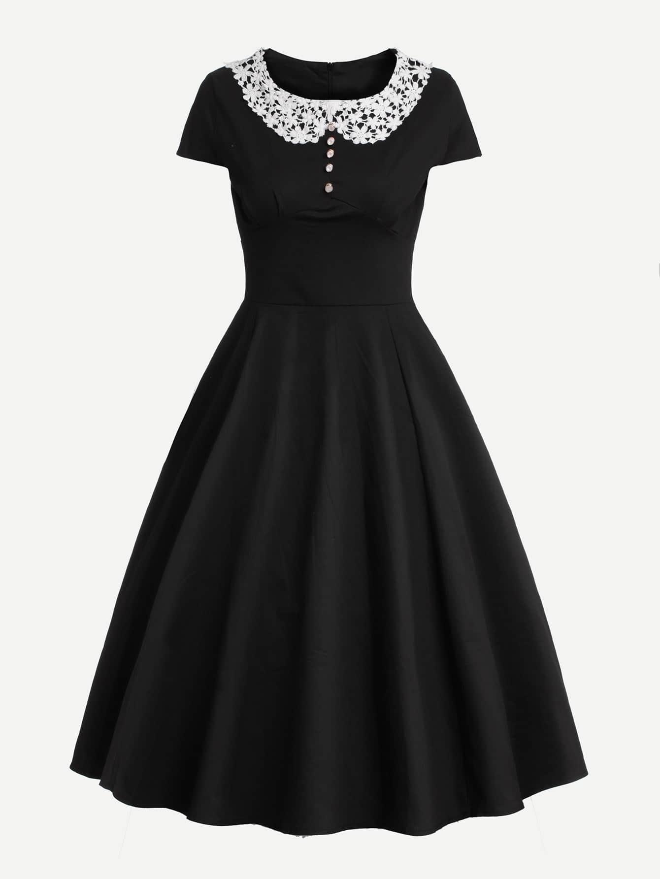Модное платье с контрастным воротником, null, SheIn  - купить со скидкой