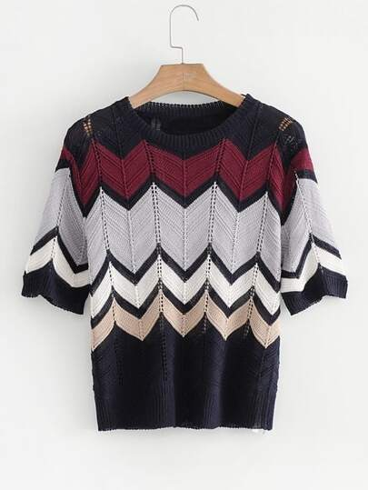 Chevron Pattern Pointelle Knitwear