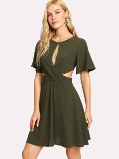 Crisscross Front Flutter Sleeve Dress