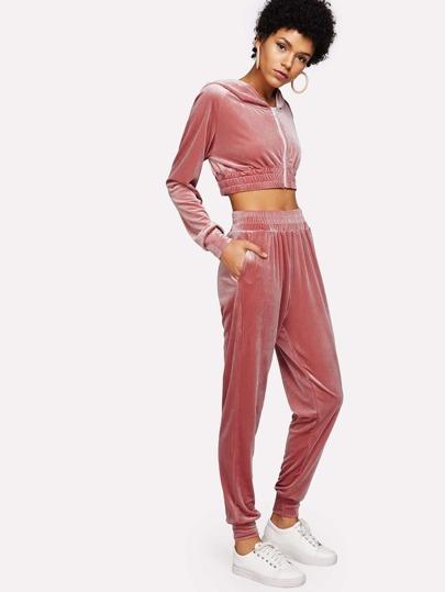 Elastic Hem Velvet Crop Zip Top & Pants