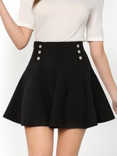 Dual Button Front Flare Skirt