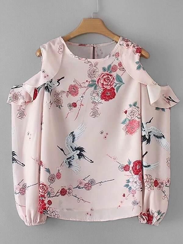 Cold Shoulder Flounce Floral Blouse white cold shoulder asymmetricalâblouse