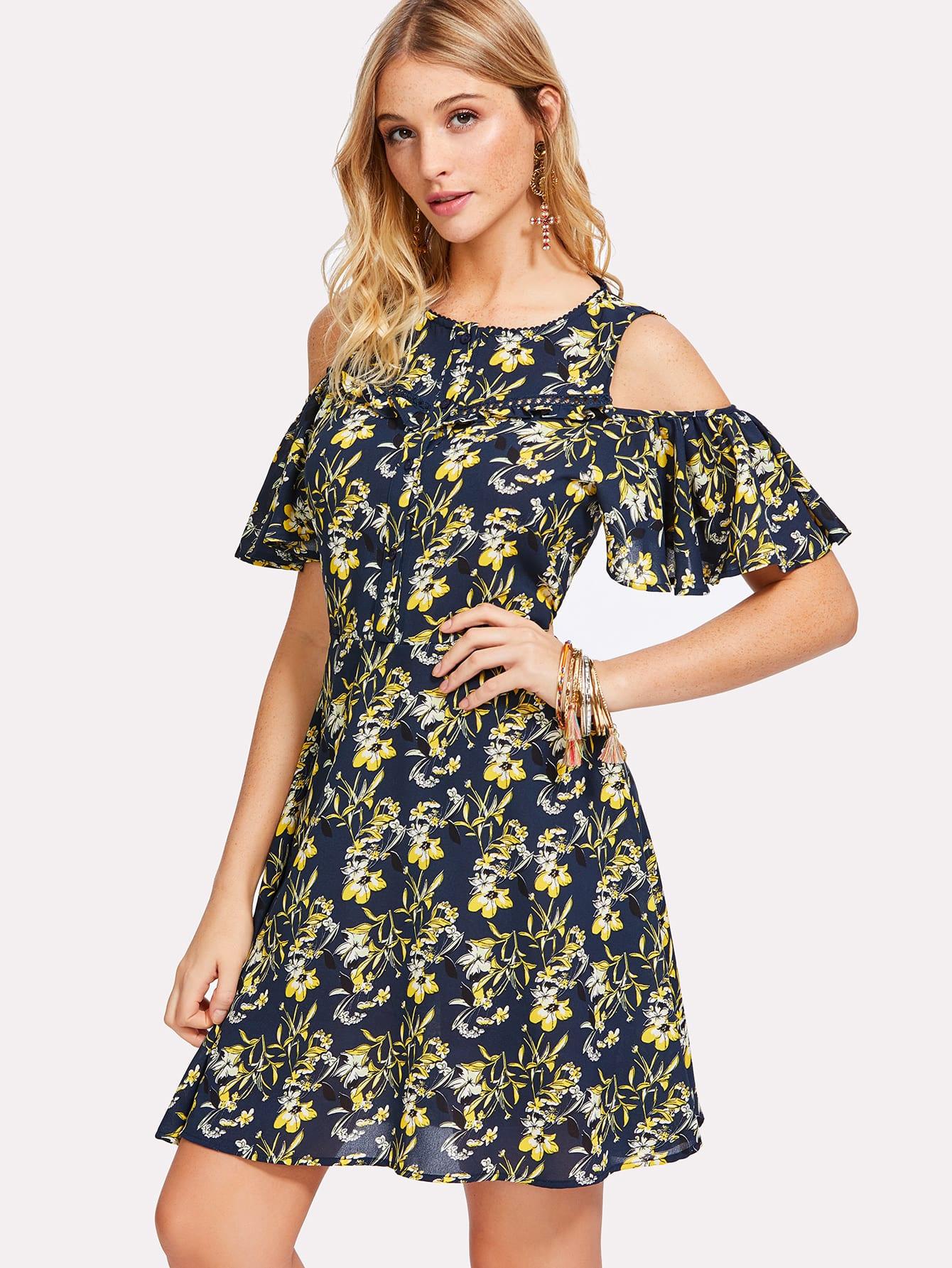 Half Placket Cold Shoulder Floral Dress button half placket flared hem plaid dress
