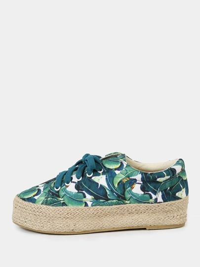 Tropical Print Espadrille Trim Flatform Sneakers GREEN MULTI