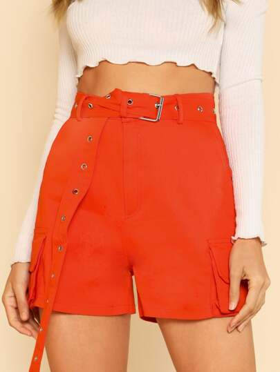 High Waisted Cargo Pocket Shorts With Waist Belt ORANGE