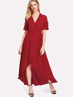 Knot Side Asymmetrical Ruffle Trim Dress