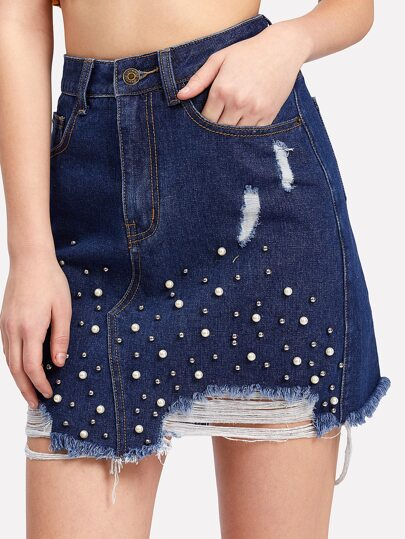 Pearl Embellished Ripped Denim Skirt
