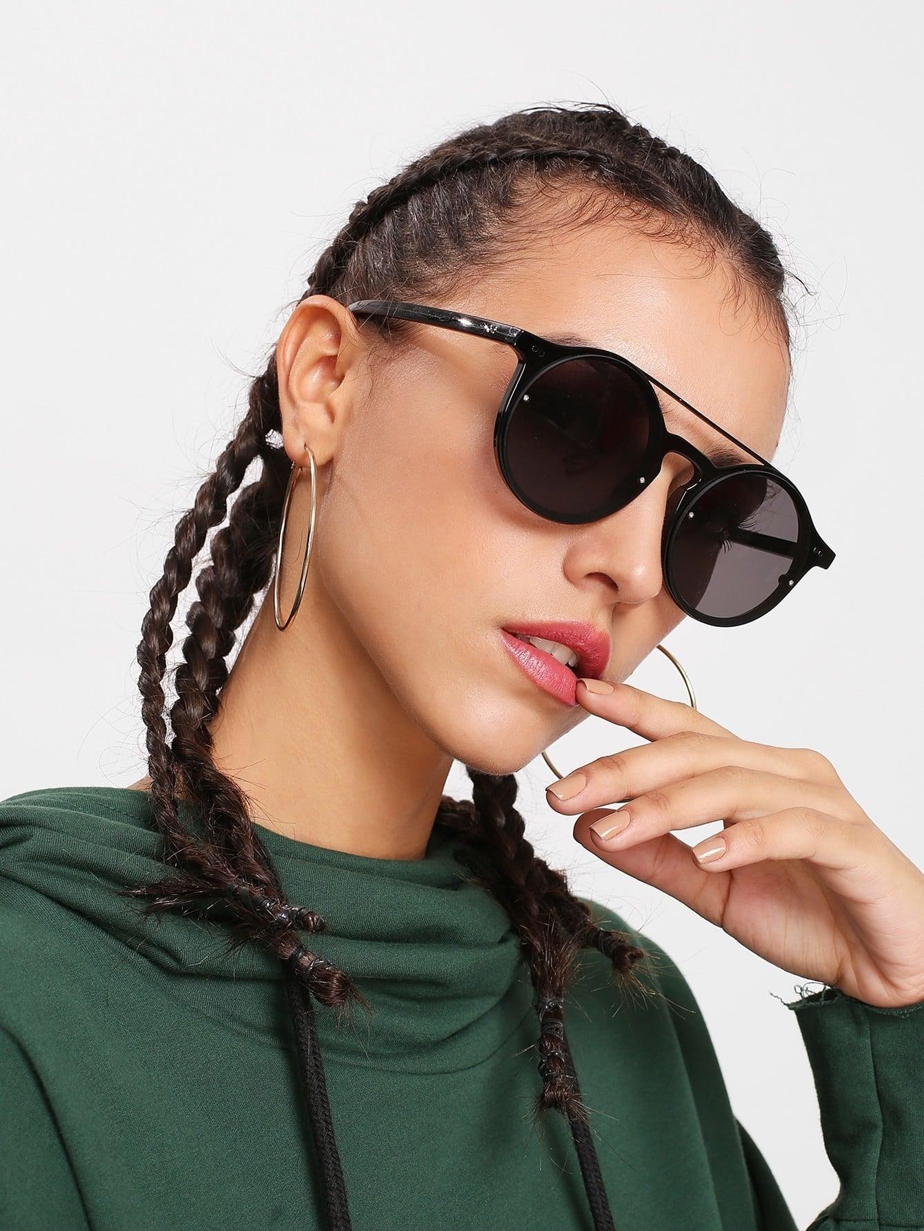 Double Bridge Round Lens Sunglasses round lens sunglasses