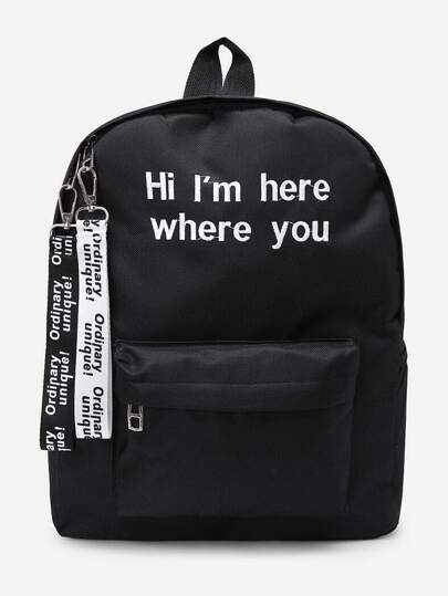Slogan Ribbon Embroidered Backpack