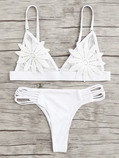 Applique Ladder Cut Out Bikini Set