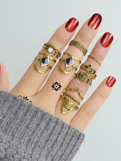 At-Gold Vintage Totem Flower Rings  11-Pieces Set