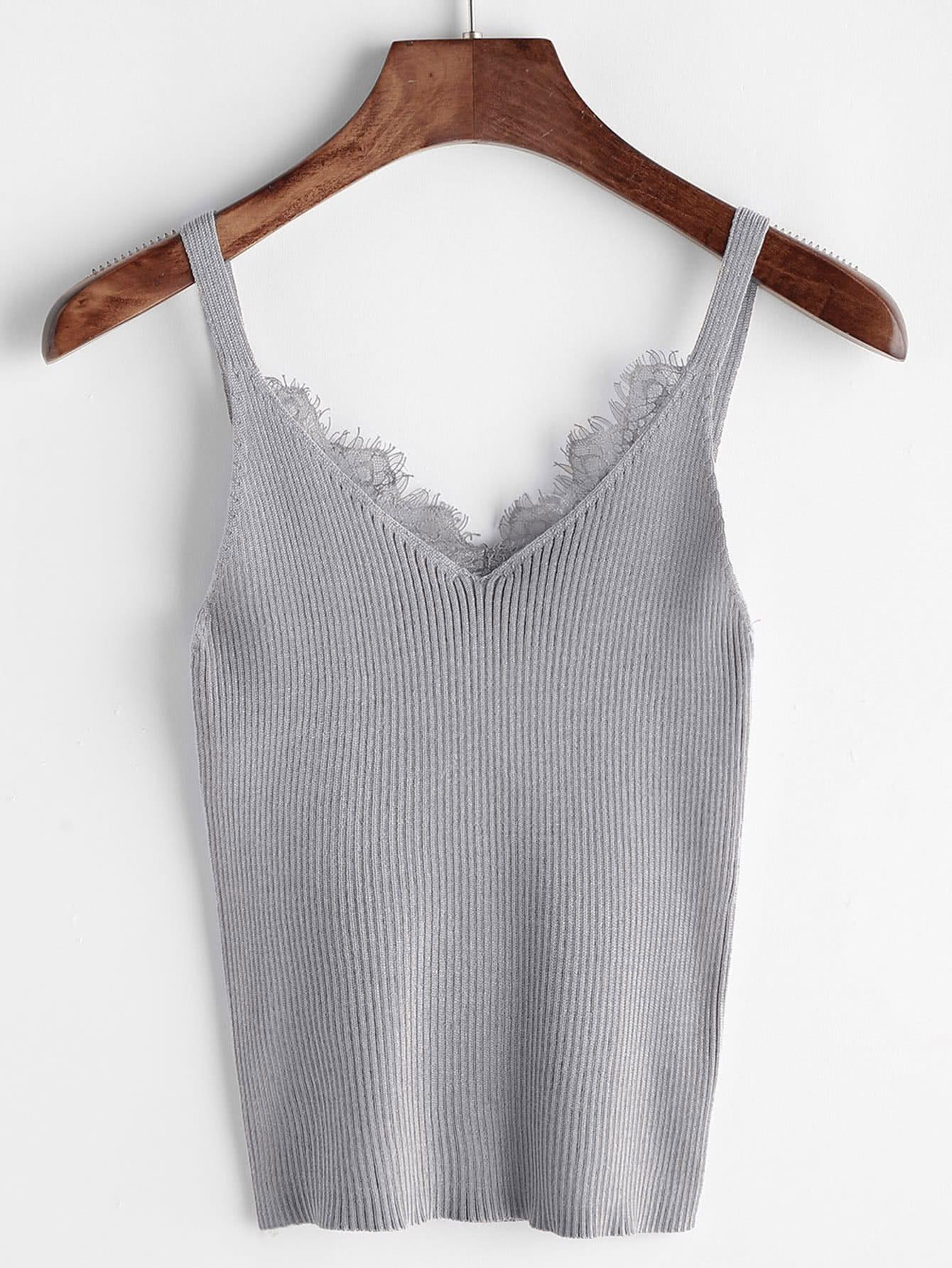Eyelash Lace Trim Knit Top vest170516102
