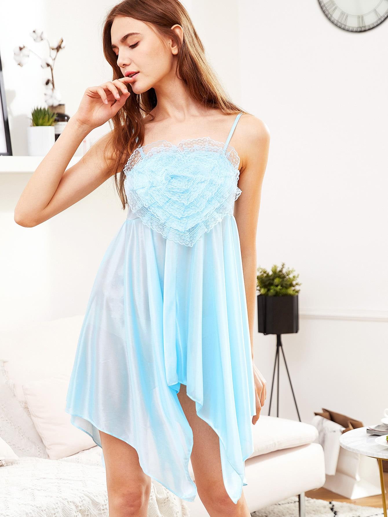 Contrast Lace Asymmetrical Hem Cami Dress contrast panel asymmetrical casual dress long