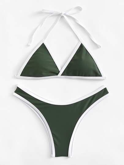 Contrast Piping Triangle Bikini Set