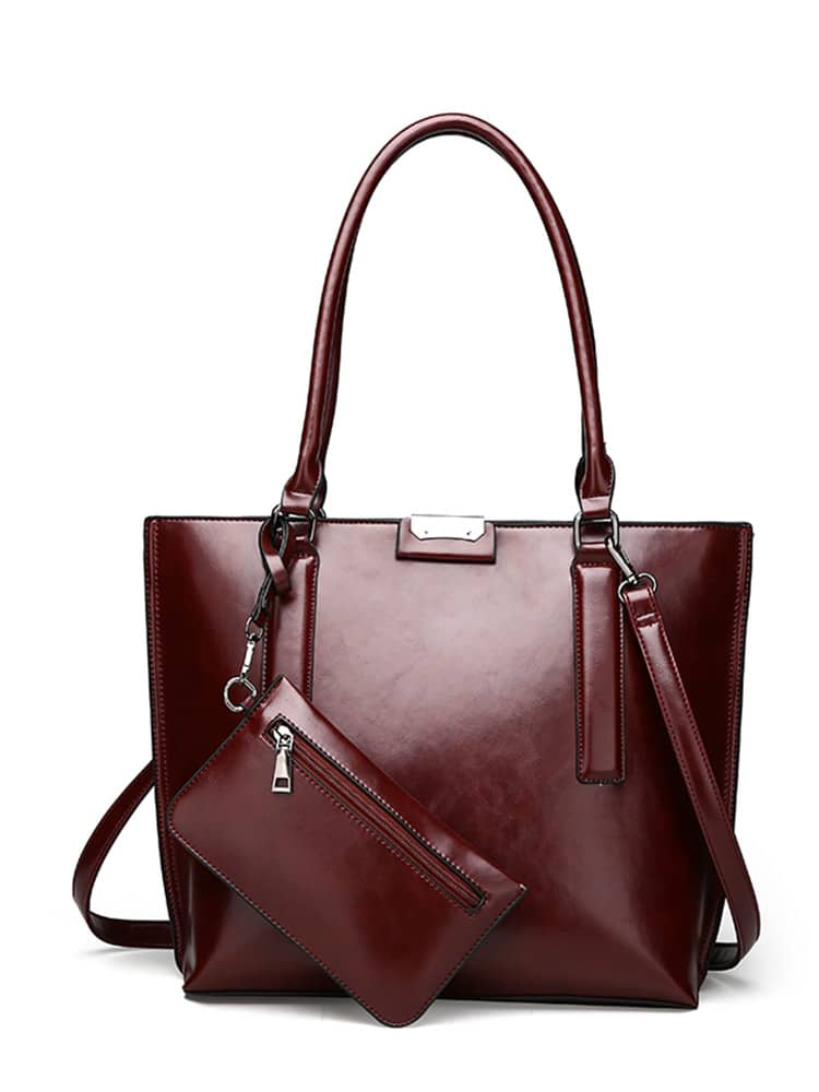 Faux Leather Grab Bag With Purse автомагнитола swat mex 3006ubb