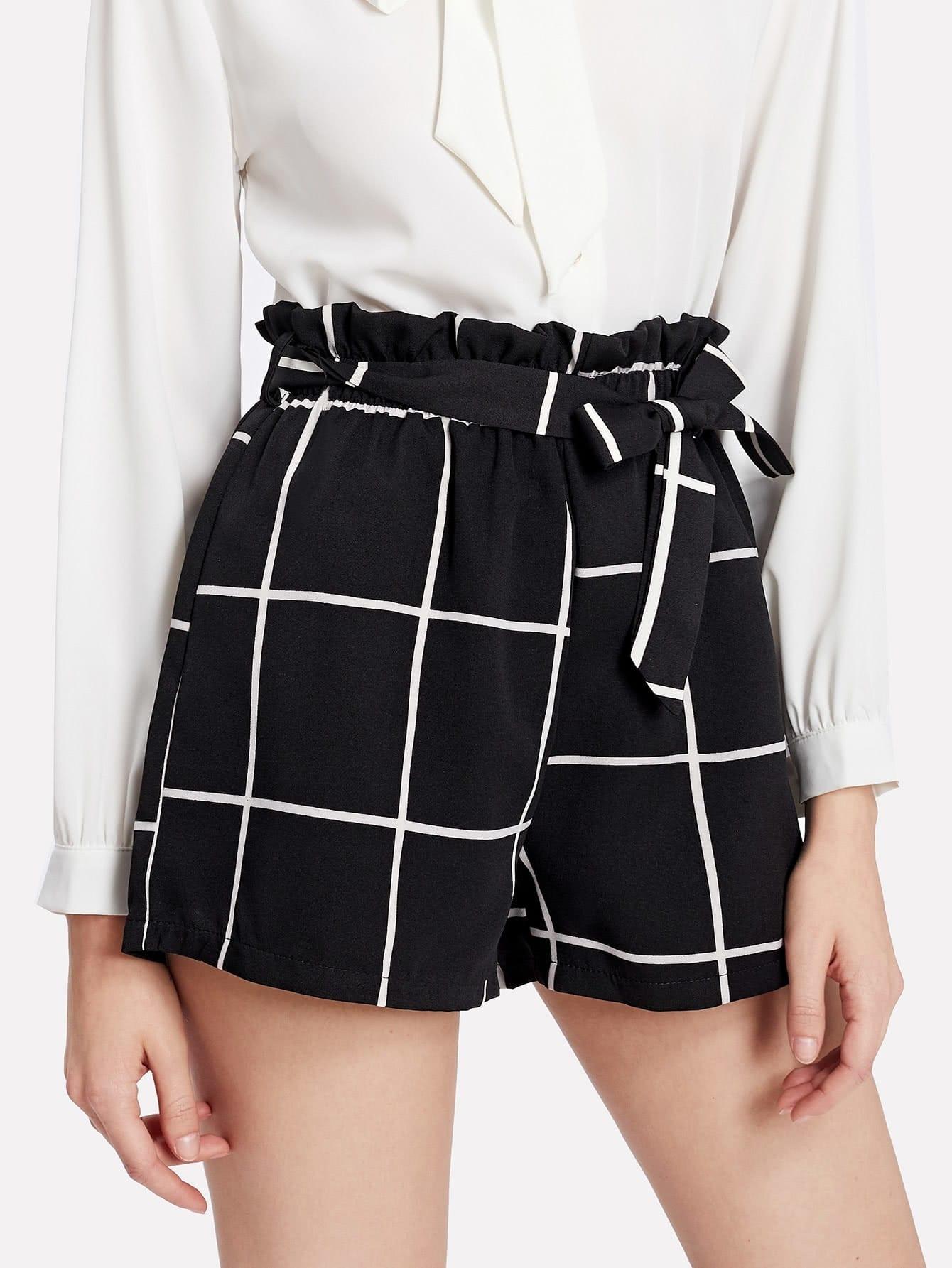 Купить Модные клетчатые шорты с поясом, Kseniia Z, SheIn