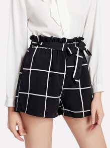 Grid Print Self Tie Shorts