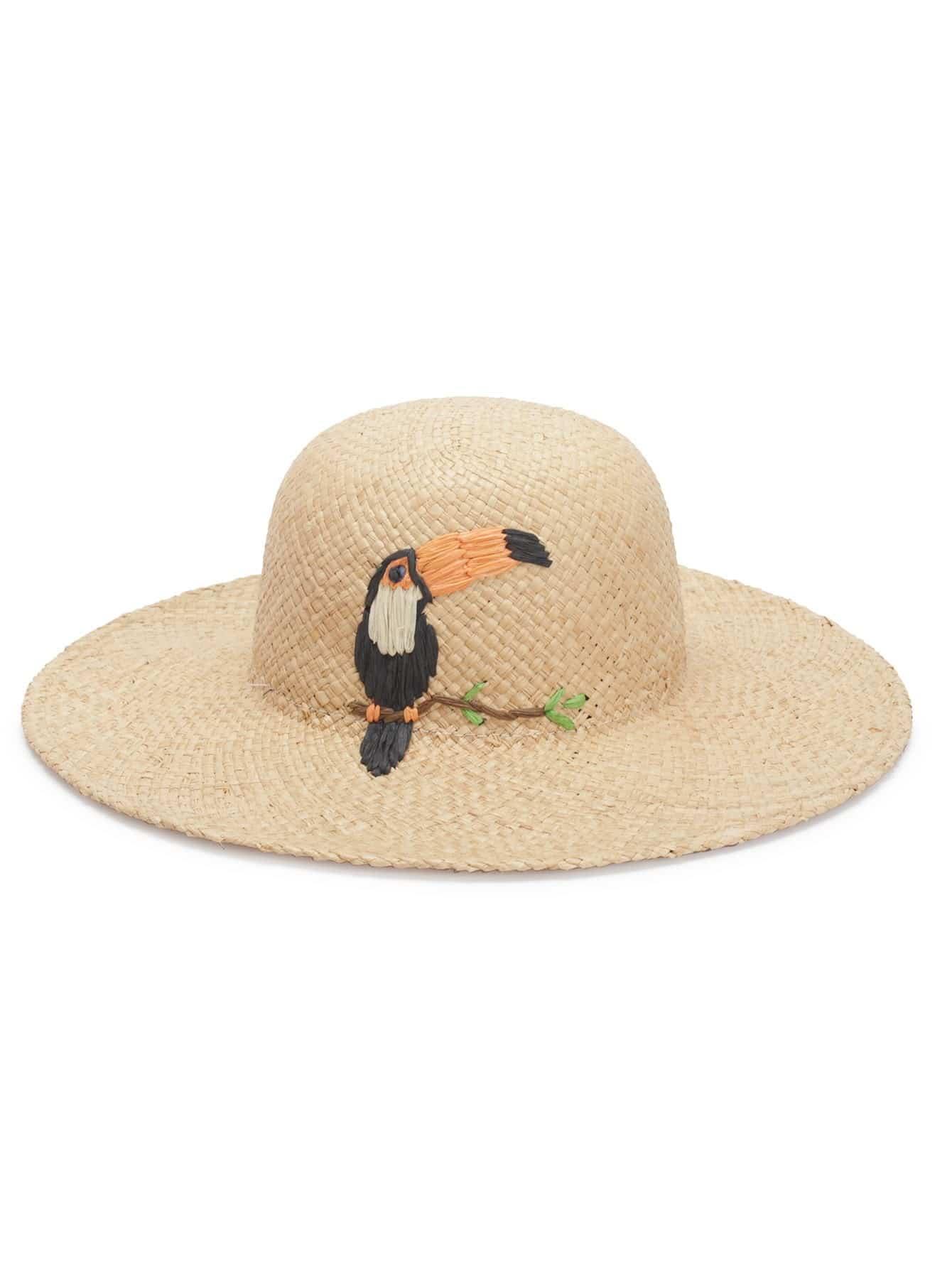 Bird Decorated Straw Hat