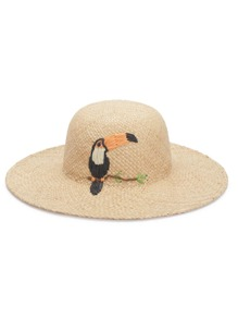 Bird Decorated Straw Hat