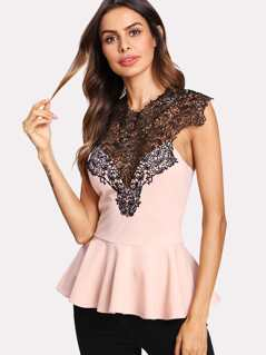 Lace Yoke Ruffle Hem Top