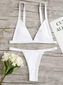 V Plunge Neck Bikini Set