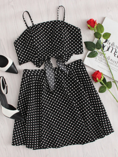 Polka Dot Knot Back Crop Cami And Skirt Set
