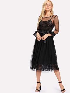 Mesh Overlay 2 In 1 Slip Dress