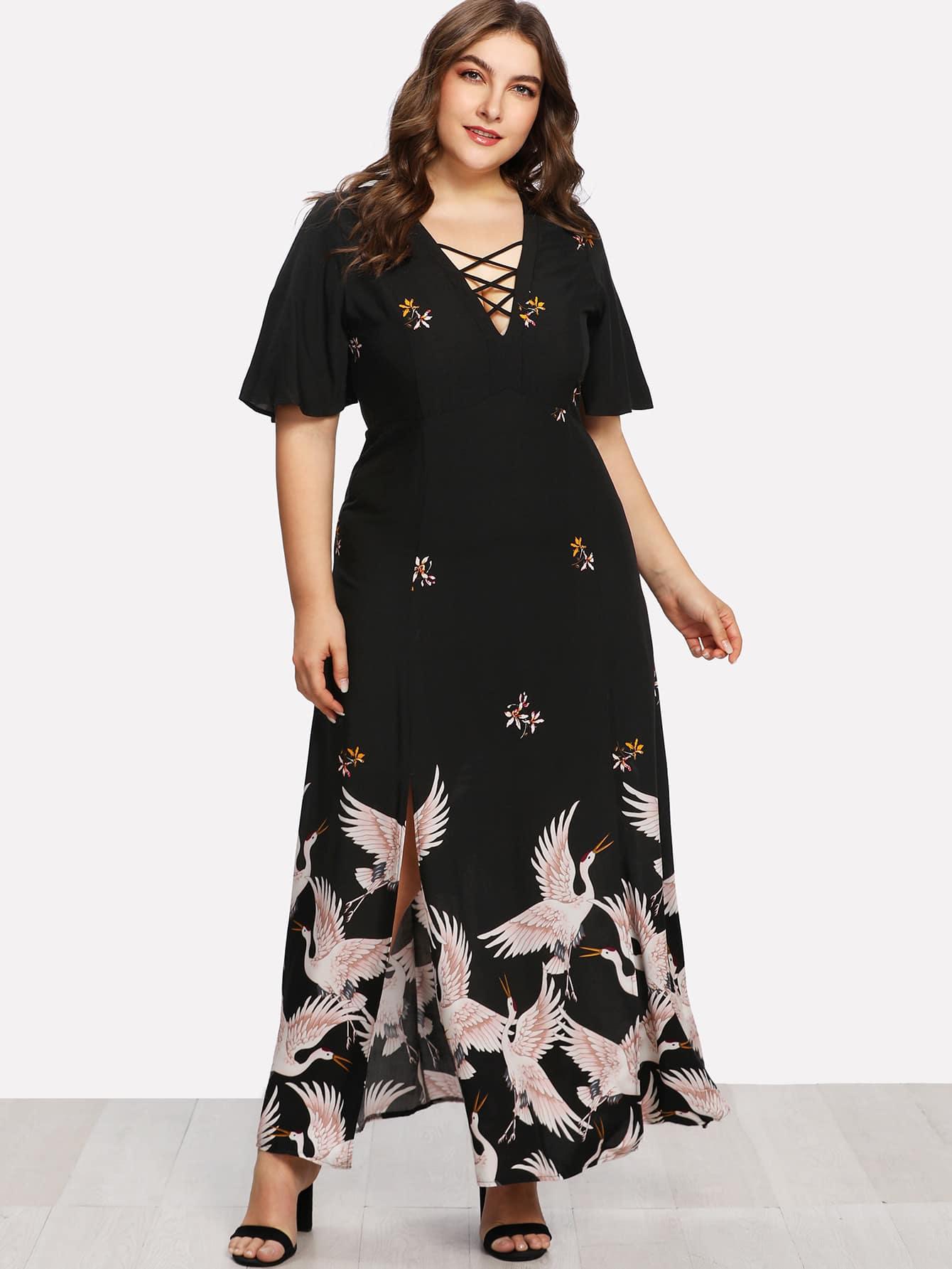 Купить Модное платье с принтом и V-образным вырезом, Franziska, SheIn