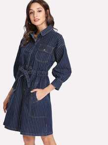 Tie Waist Pinstripe Denim Shirt Dress