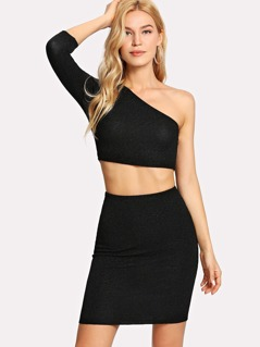 One Shoulder Crop Glitter Top & Skirt Co-Ord