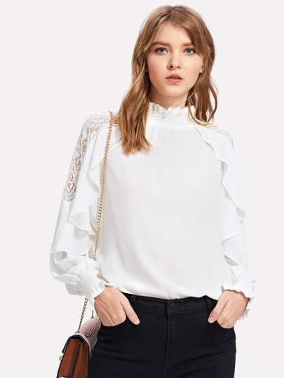 Lace Panel Ruffle Trim Blouse
