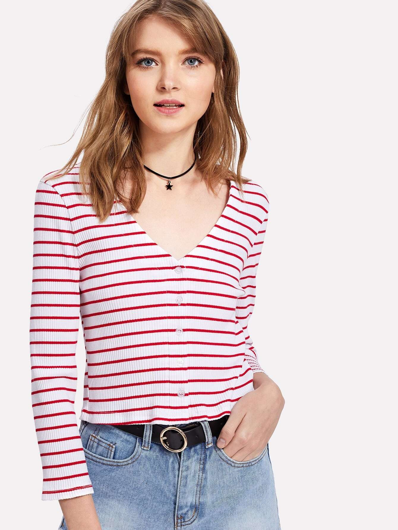 Button Front Striped Crop Ribbed Tee tee180108103