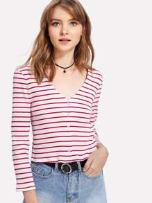 Button Front Striped Crop Ribbed Tee