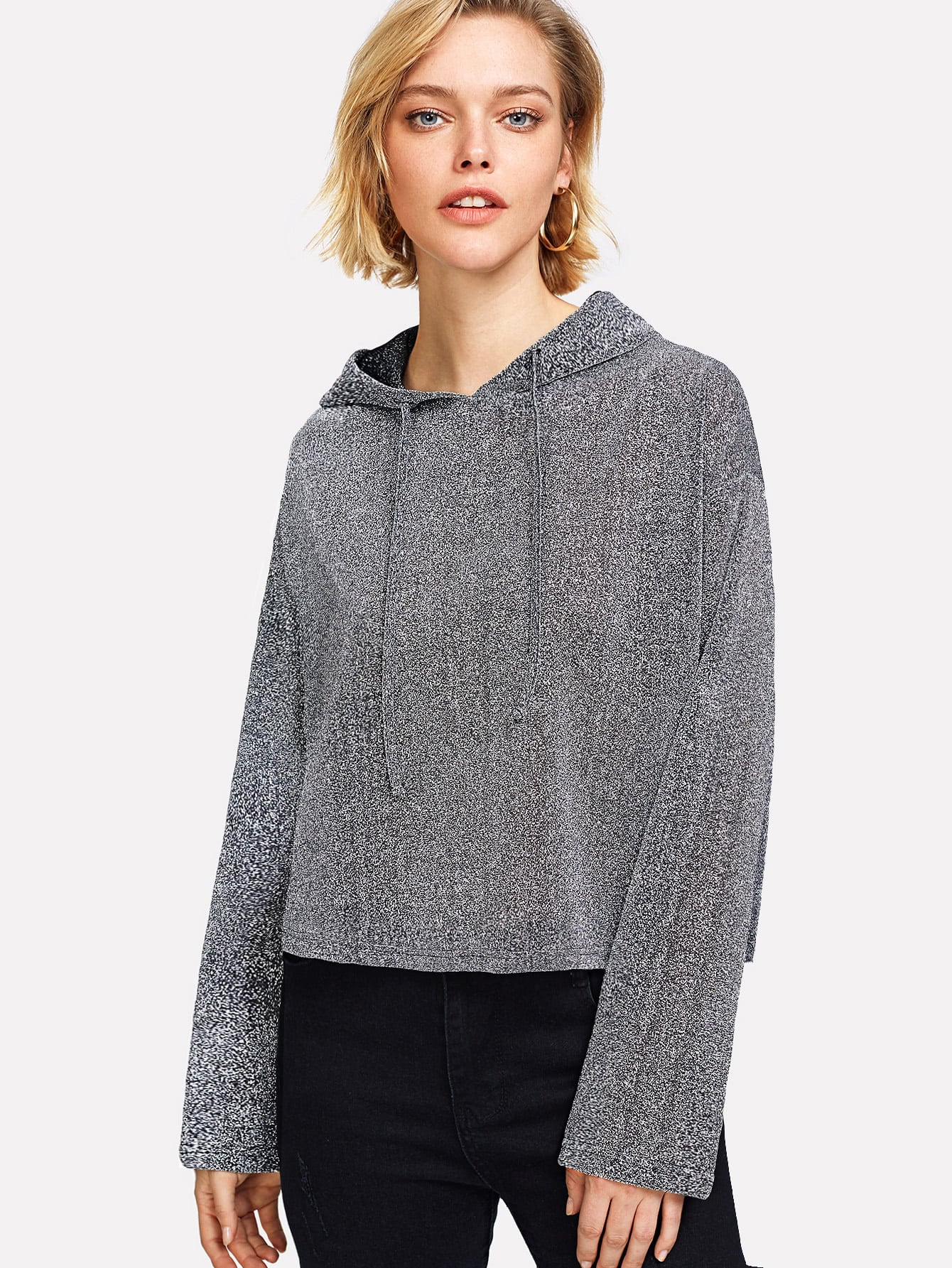 Drop Shoulder Hoodie Glitter Tee two tone drop shoulder sweatshirt